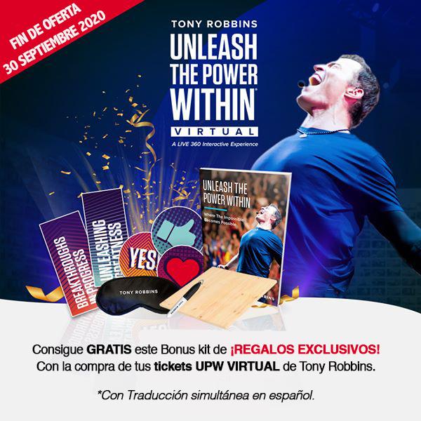 Tony Robbins en español regalos bonus kit swag bag UPW VIRTUAL
